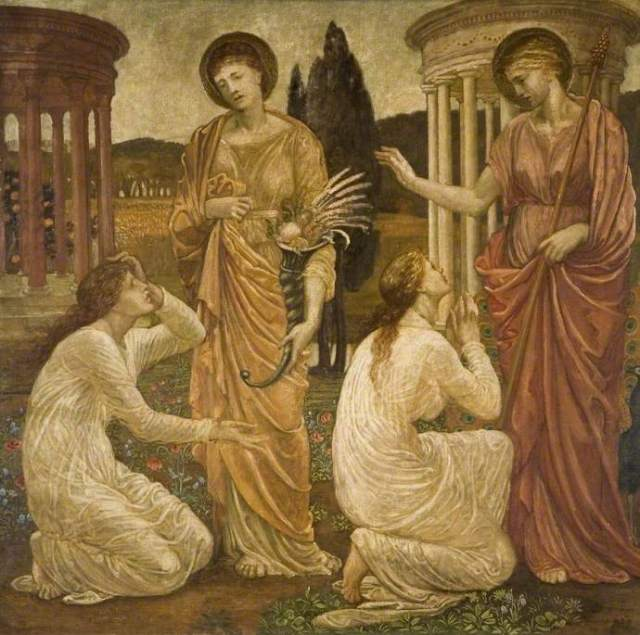 Burne-Jones, Edward, 1833-1898; Psyche at the Shrines of Juno and Ceres (Palace Green Murals)